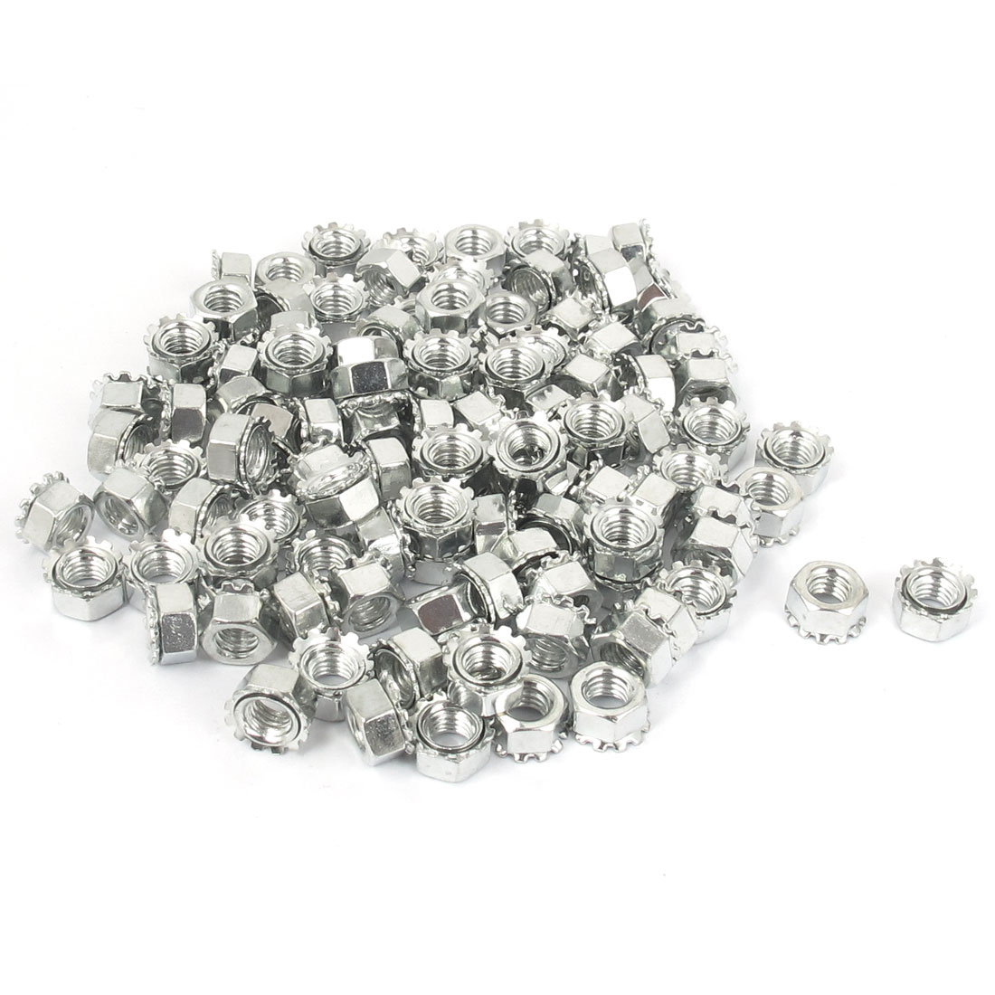 M5 Thread Dia Zinc Plated External Tooth Locknuts Kep Nut Silver Tone 100pcs