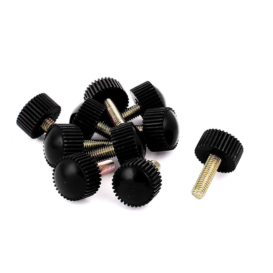 M5 x 16mm Round Head Screw On Straight Knurled Clamping Knob Grips Black 10pcs