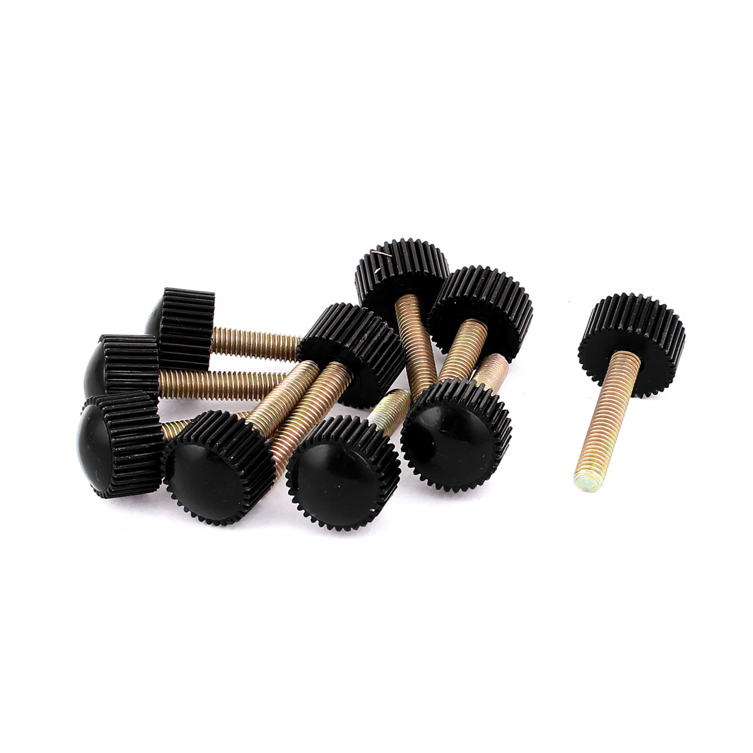 M5 x 25mm Round Head Screw On Straight Knurled Clamping Knob Grips Black 10pcs