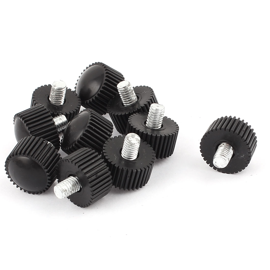 M5 x 6mm Round Head Screw On Straight Knurled Clamping Knob Grips Black 10pcs