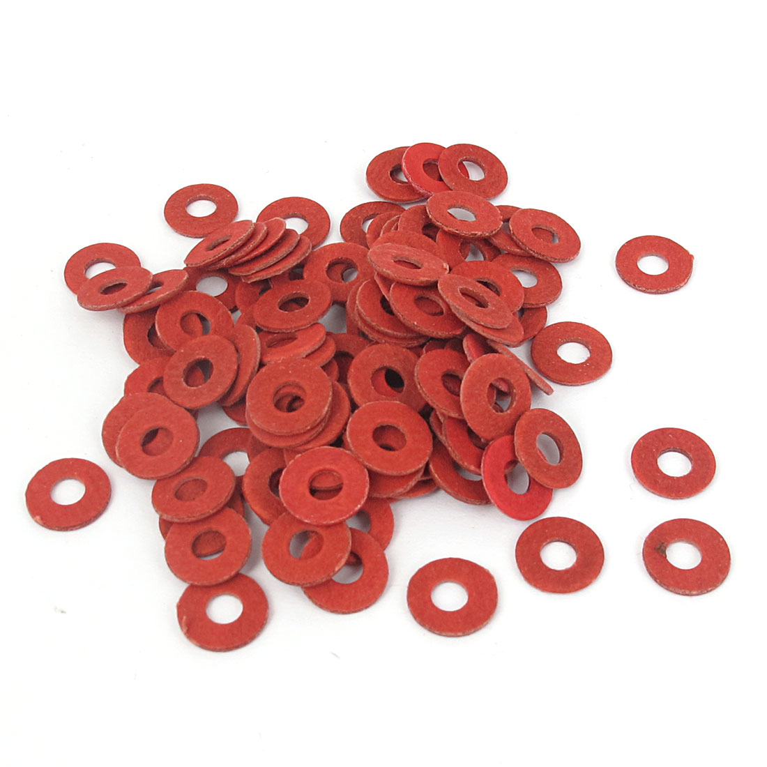 4mmx10mmx1mm Fiber Motherboard Insulating Gasket Flat Washer Red 100pcs