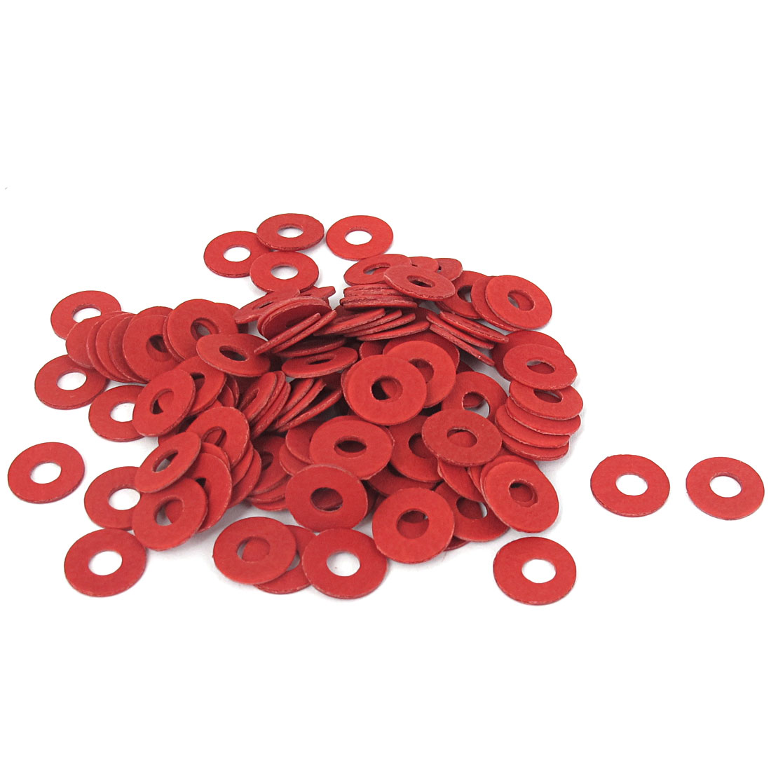4mmx10mmx0.8mm Fiber Motherboard Insulating Gasket Flat Washer Red 100pcs