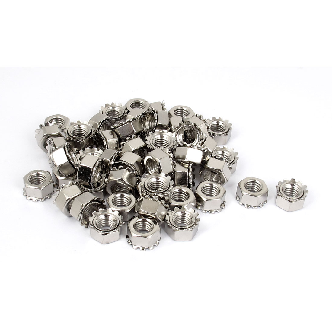M8 Thread Dia Nickel Plated External Tooth Locknuts Kep Nut Silver Tone 50pcs