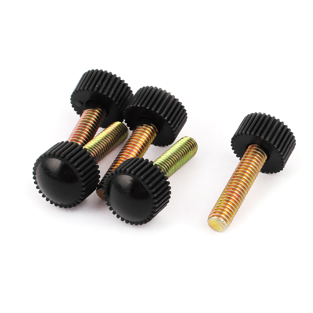 M6 x 25mm Round Head Screw On Straight Knurled Clamping Knob Grips Black 5pcs
