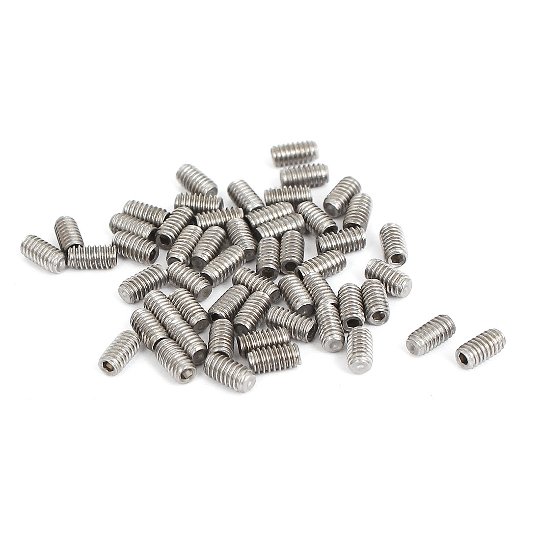 M2x4mm Stainless Steel Hex Socket Set Cap Point Grub Screws Silver Tone 50pcs