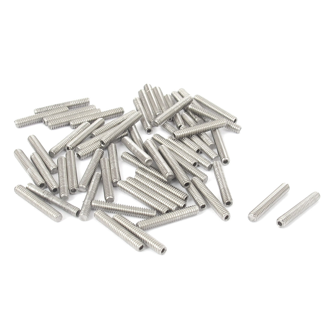 M2x12mm Stainless Steel Hex Socket Set Cap Point Grub Screws Silver Tone 50pcs