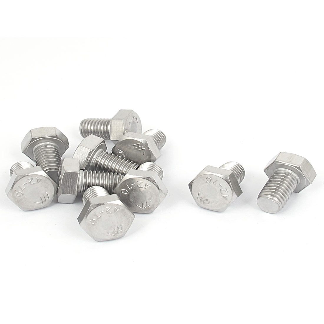 M10x16mm Thread 304 Stainless Steel Hexagonal Hex Head Bolt 10pcs