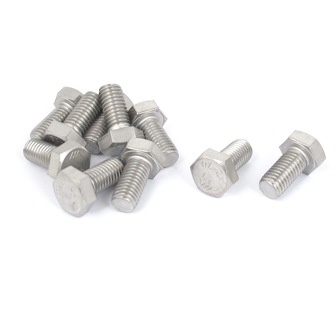 M10x20mm Thread 304 Stainless Steel Hexagonal Hex Head Bolt 10pcs