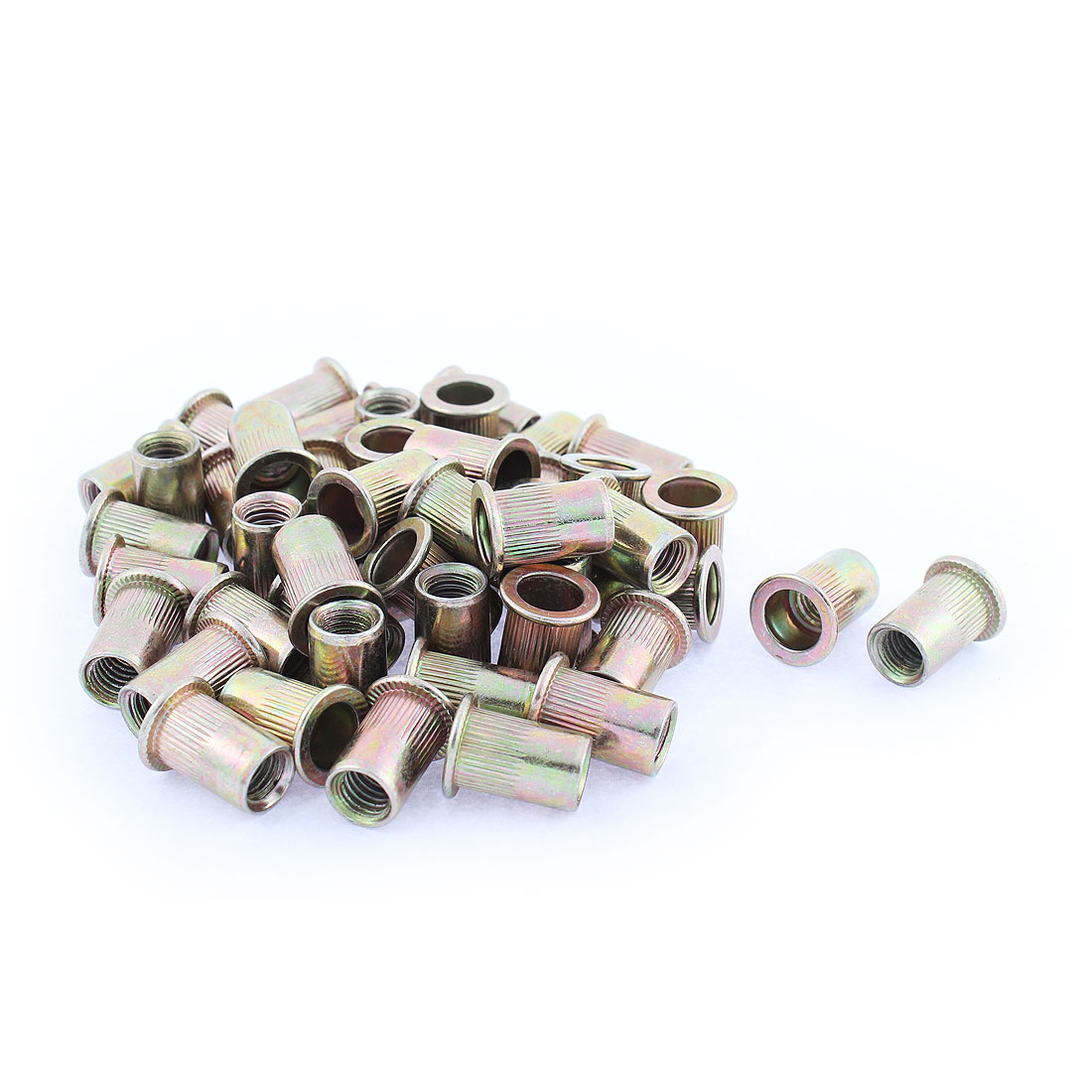 M8 Thread Dia Flat Head Zinc Plated Rivet Blind Nut Nutsert Brass Tone 50pcs