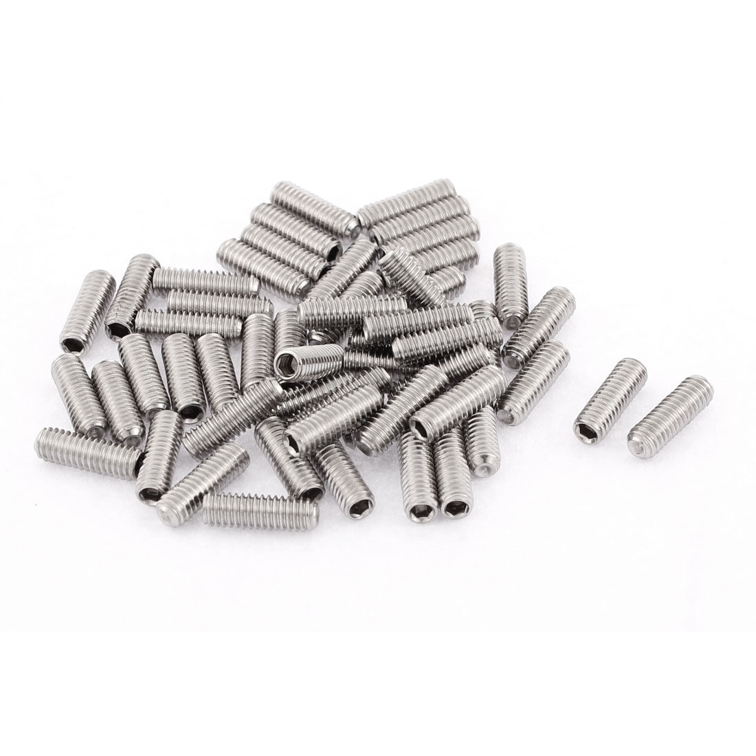 M4x12mm Stainless Steel Hex Socket Set Cap Point Grub Screws Silver Tone 50pcs