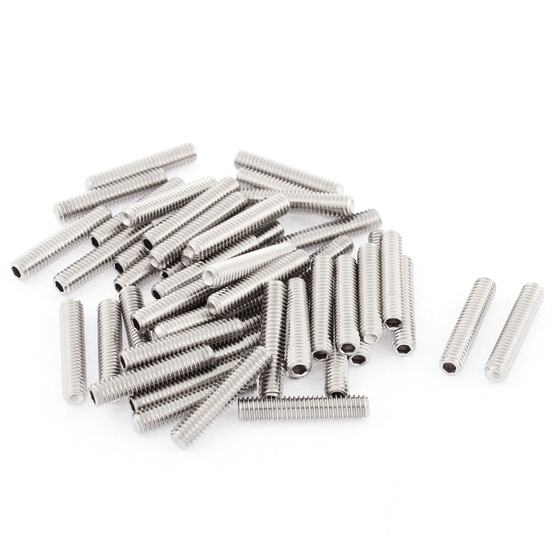 M4x20mm Stainless Steel Hex Socket Set Cap Point Grub Screws Silver Tone 50pcs