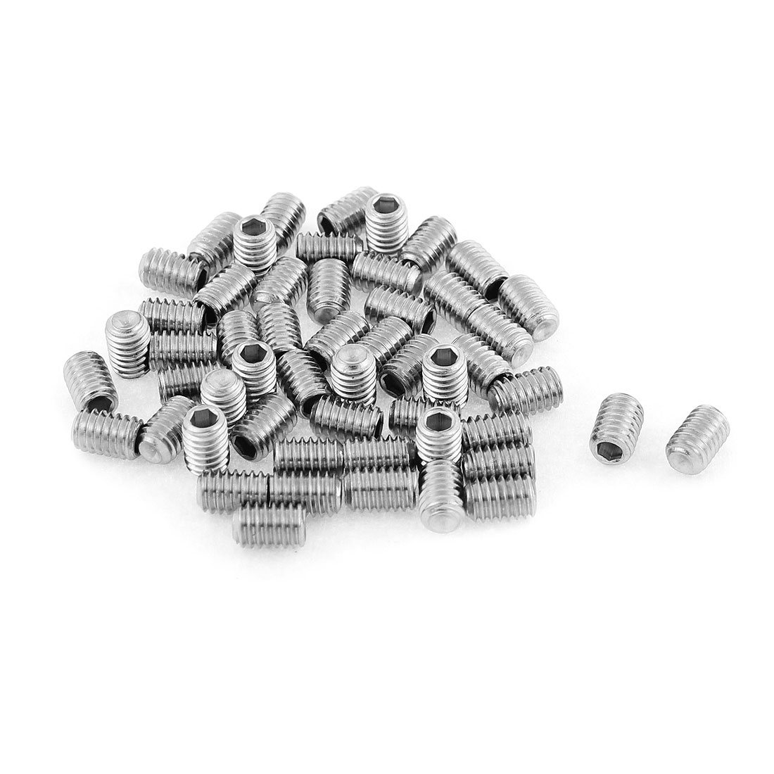 M4x6mm Stainless Steel Hex Socket Set Cap Point Grub Screws Silver Tone 50pcs