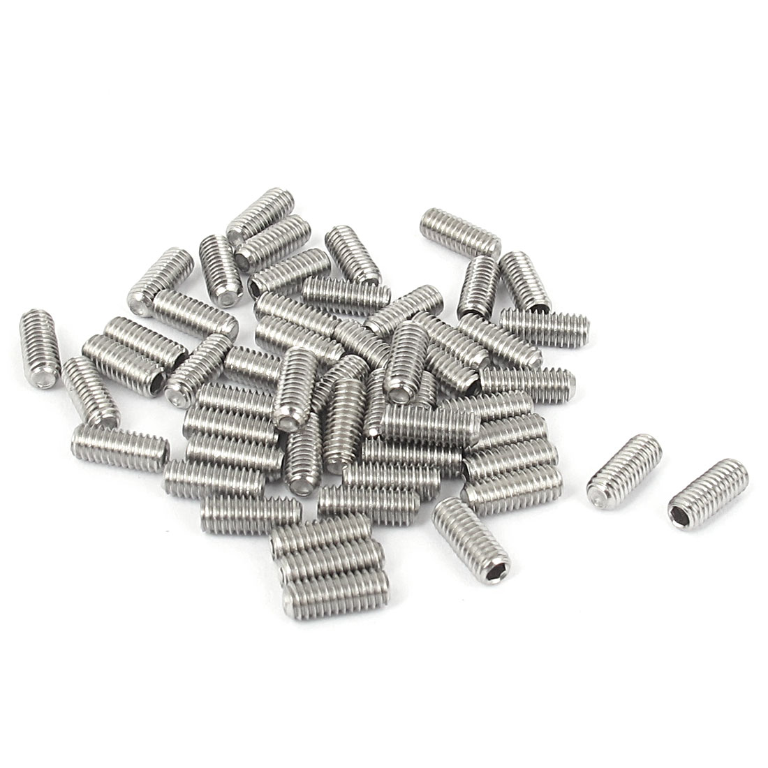 M4x10mm Stainless Steel Hex Socket Set Cap Point Grub Screws Silver Tone 50pcs