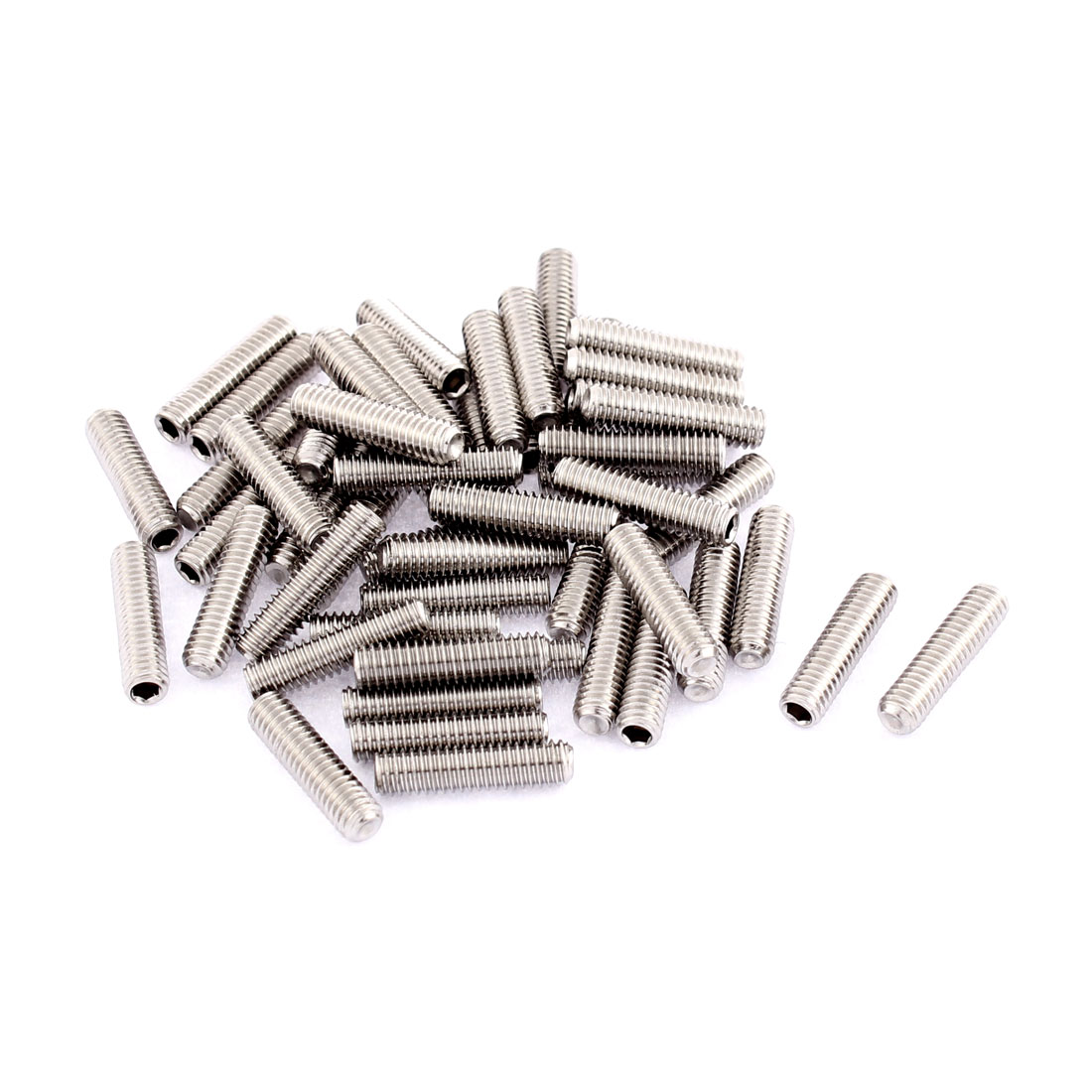 M4x16mm Stainless Steel Hex Socket Set Cap Point Grub Screws Silver Tone 50pcs