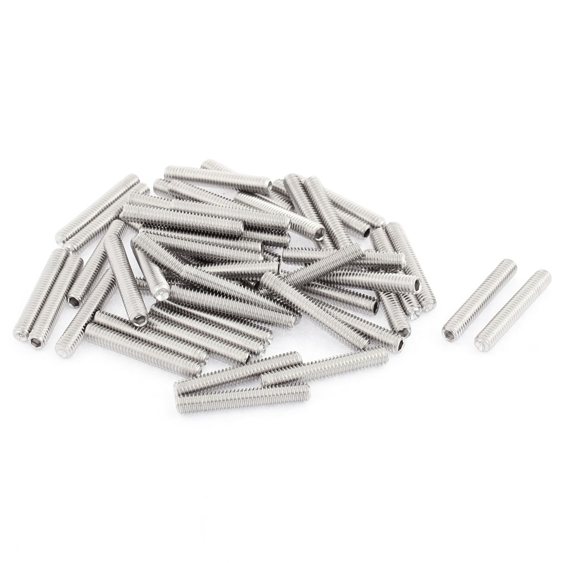 M4x25mm Stainless Steel Hex Socket Set Cap Point Grub Screws Silver Tone 50pcs