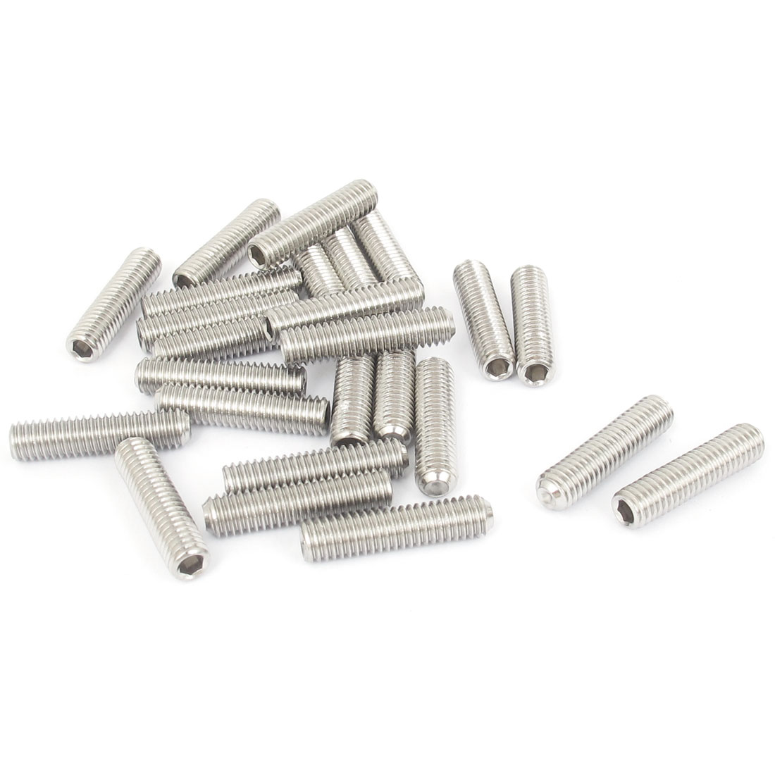 M6x25mm Stainless Steel Hex Socket Set Cap Point Grub Screws Silver Tone 25pcs