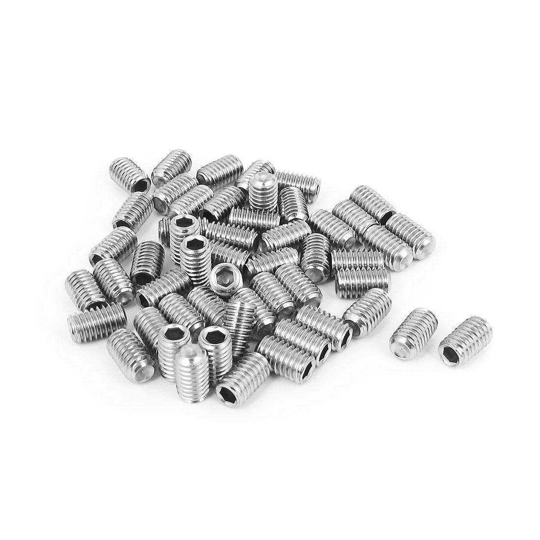 M6x10mm Stainless Steel Hex Socket Set Cap Point Grub Screws Silver Tone 50pcs