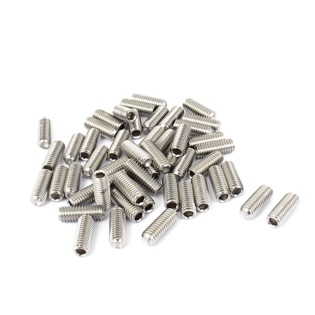 M6x16mm Stainless Steel Hex Socket Set Cap Point Grub Screws Silver Tone 50pcs