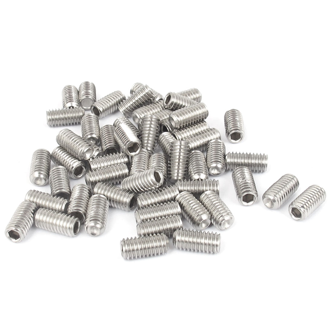 M6x12mm Stainless Steel Hex Socket Set Cap Point Grub Screws Silver Tone 50pcs