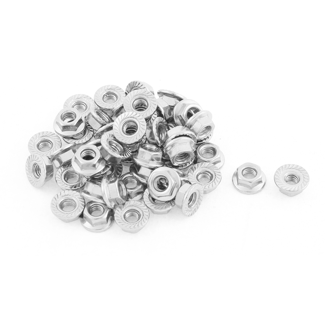 M4 Thread Dia Stainless Steel Hex Hexagon Flange Lock Nuts 50pcs