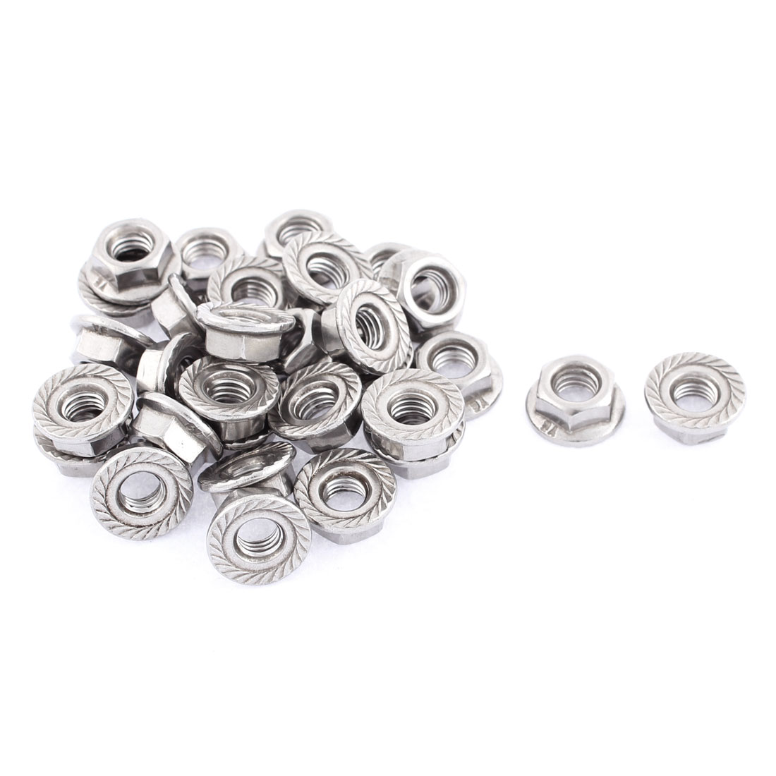M6 Thread Dia Stainless Steel Hex Hexagon Flange Lock Nuts 30pcs