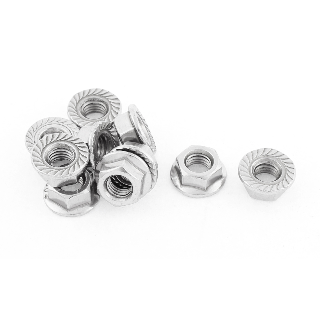 M8 Thread Dia Stainless Steel Hex Hexagon Flange Lock Nuts 10pcs
