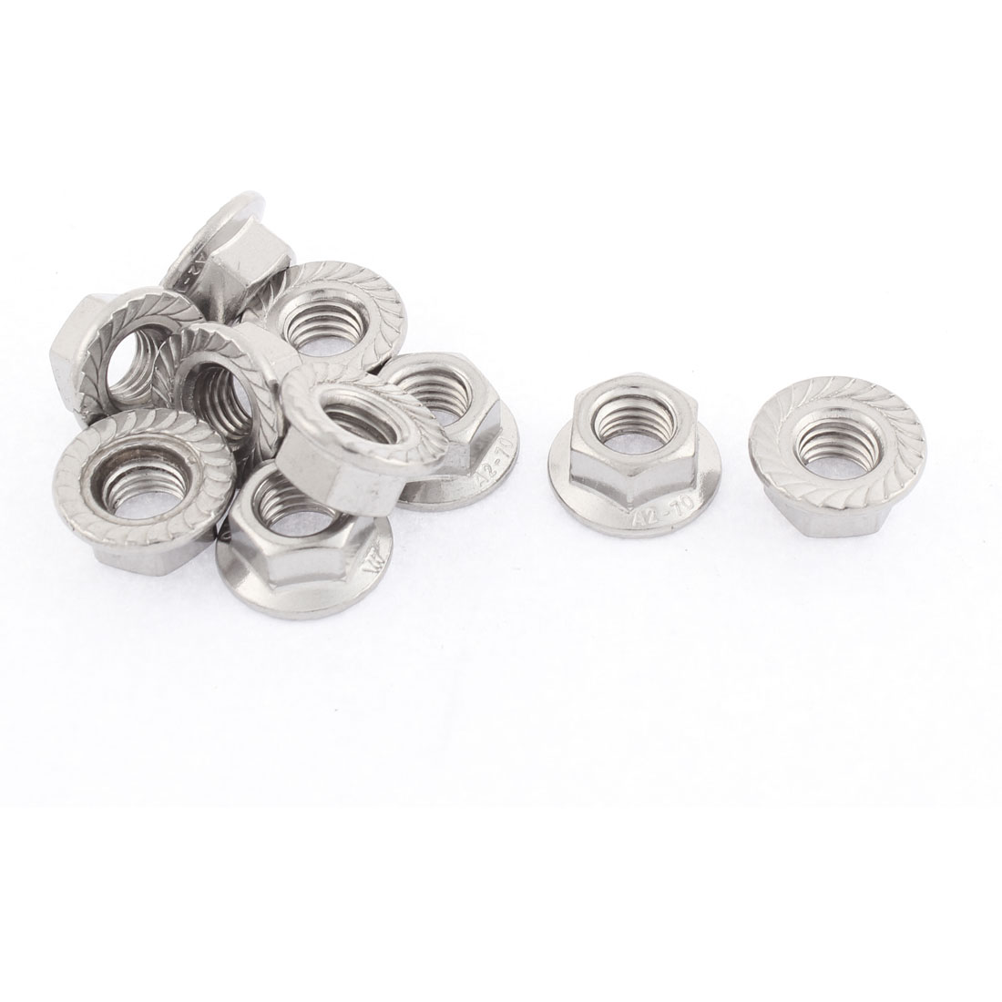 M10 Thread Dia Stainless Steel Hex Hexagon Flange Lock Nuts 10pcs