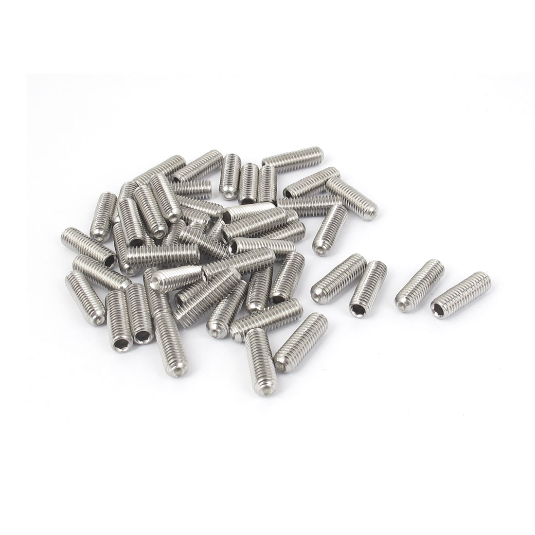 M5x16mm Stainless Steel Hex Socket Set Cap Point Grub Screws Silver Tone 50pcs