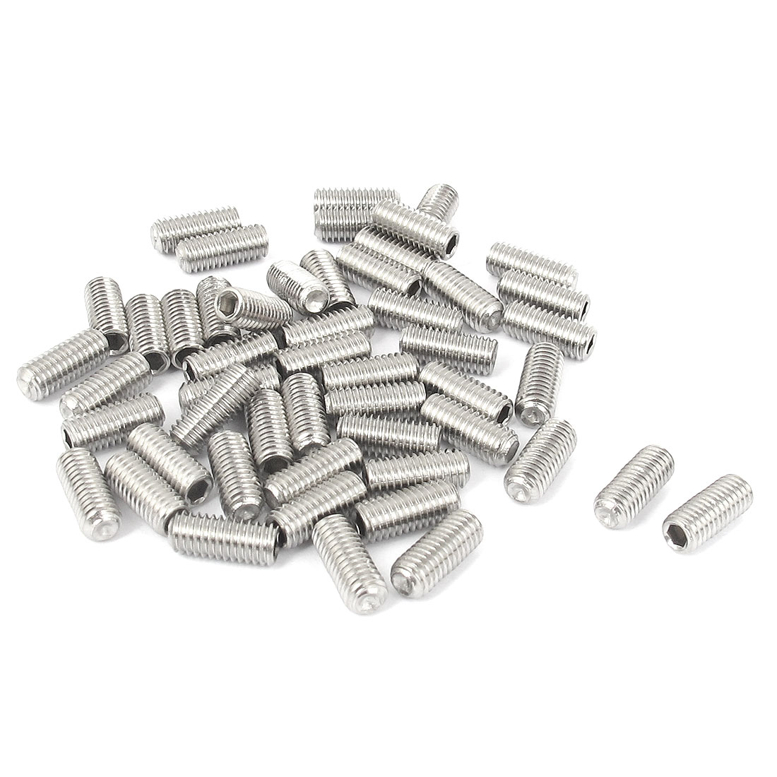 M5x12mm Stainless Steel Hex Socket Set Cap Point Grub Screws Silver Tone 50pcs