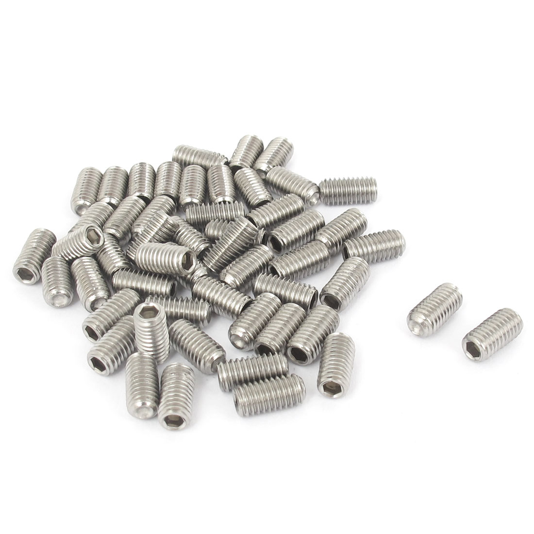 M5x10mm Stainless Steel Hex Socket Set Cap Point Grub Screws Silver Tone 50pcs