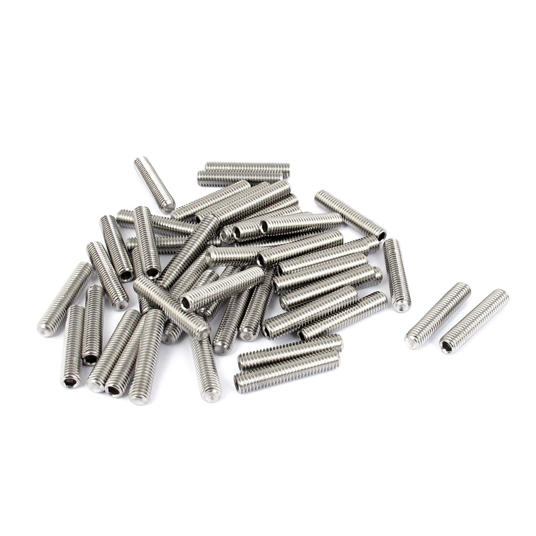 M5x25mm Stainless Steel Hex Socket Set Cap Point Grub Screws Silver Tone 50pcs