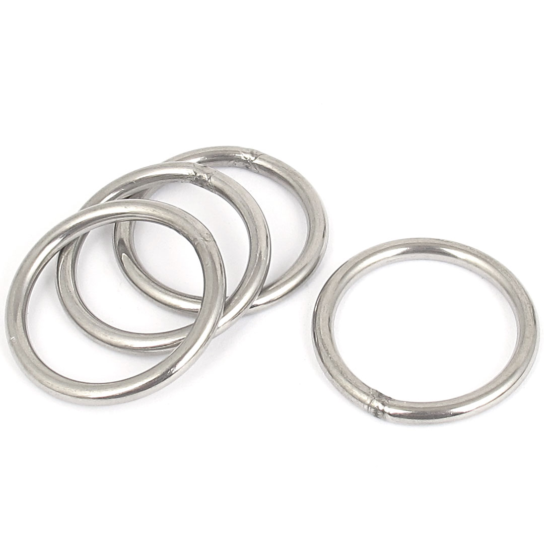 4mmx40mm Stainless Steel Welded O Ring 4pcs for Bags Key Chains Key Rings