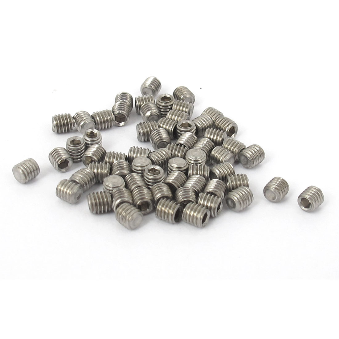 M3x3mm Stainless Steel Hex Socket Set Cap Point Grub Screws Silver Tone 50pcs