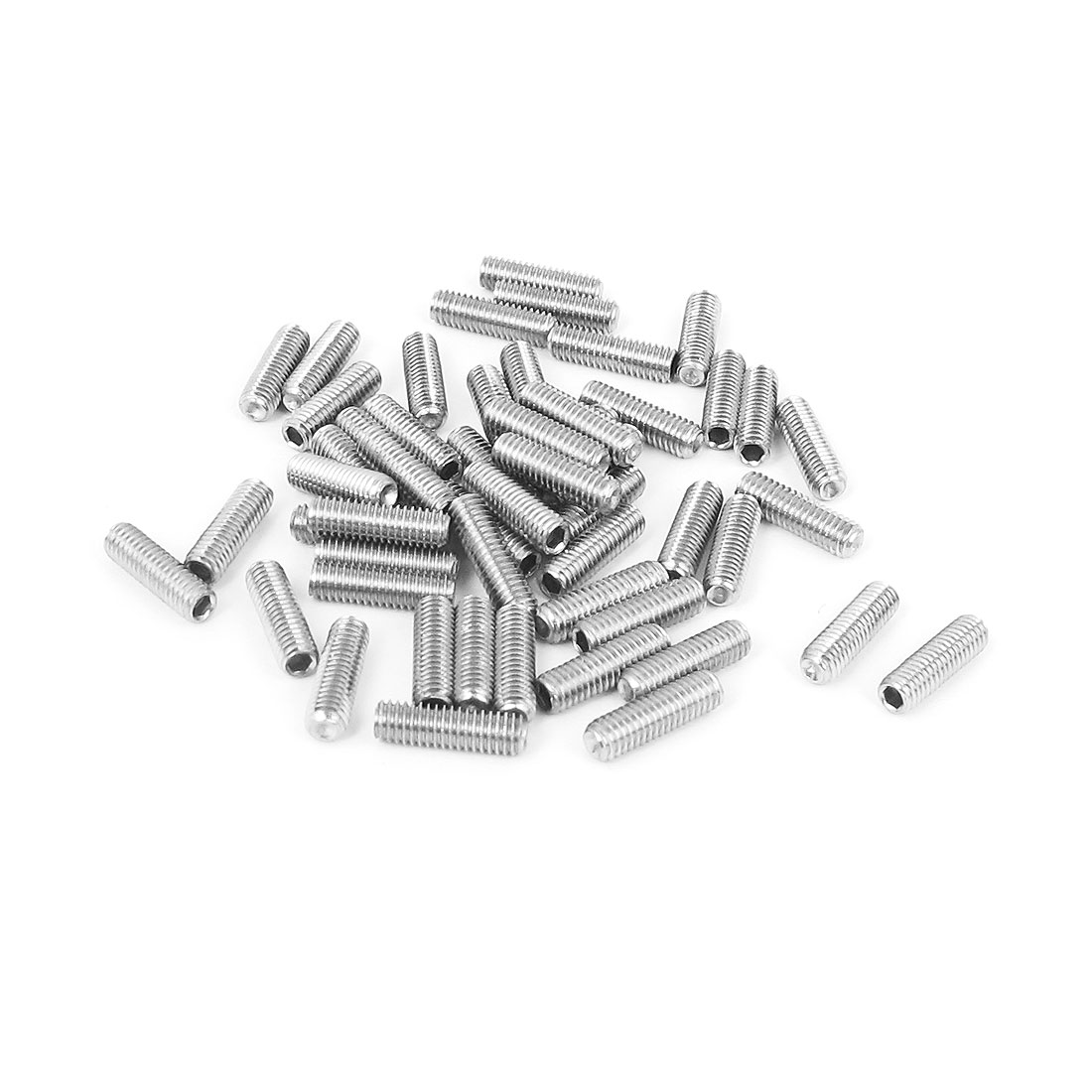M3x10mm Stainless Steel Hex Socket Set Cap Point Grub Screws Silver Tone 50pcs