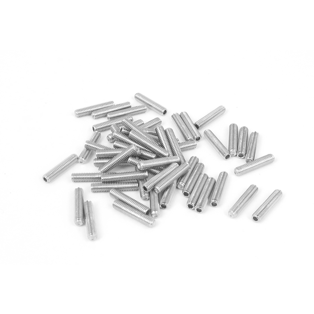 M3x14mm Stainless Steel Hex Socket Set Cap Point Grub Screws Silver Tone 50pcs