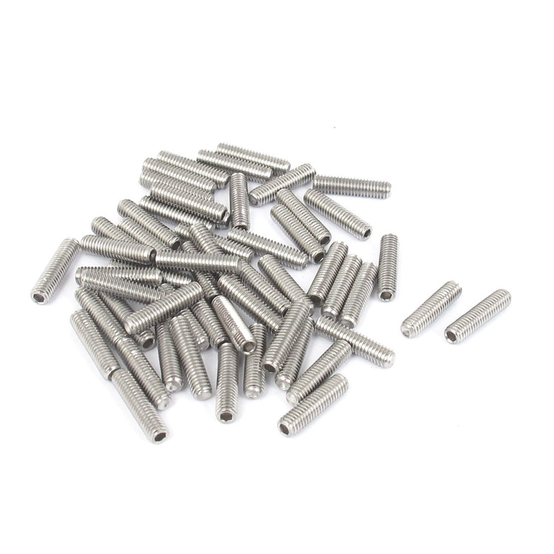 M3x12mm Stainless Steel Hex Socket Set Cap Point Grub Screws Silver Tone 50pcs