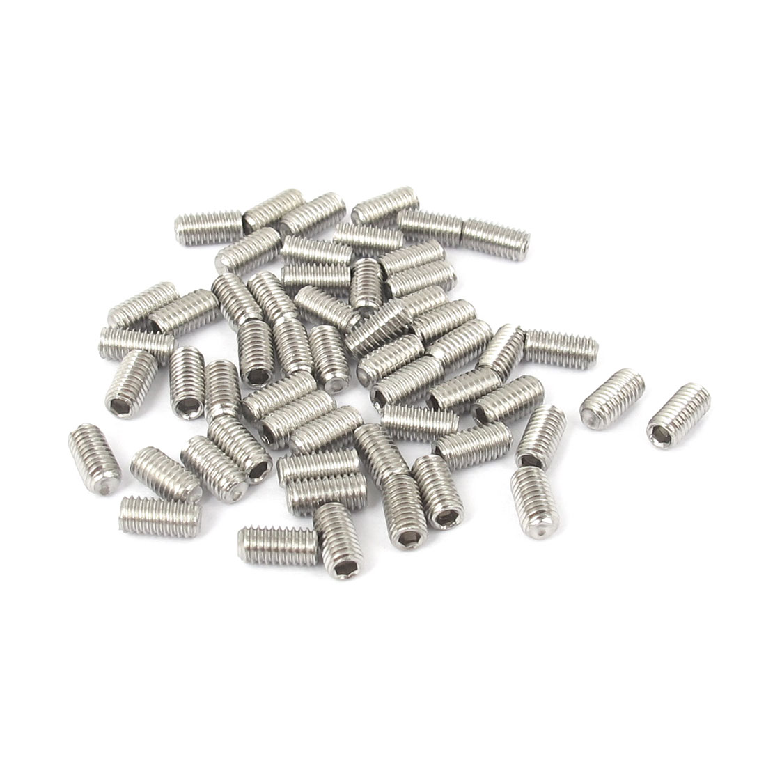M3x6mm Stainless Steel Hex Socket Set Cap Point Grub Screws Silver Tone 50pcs