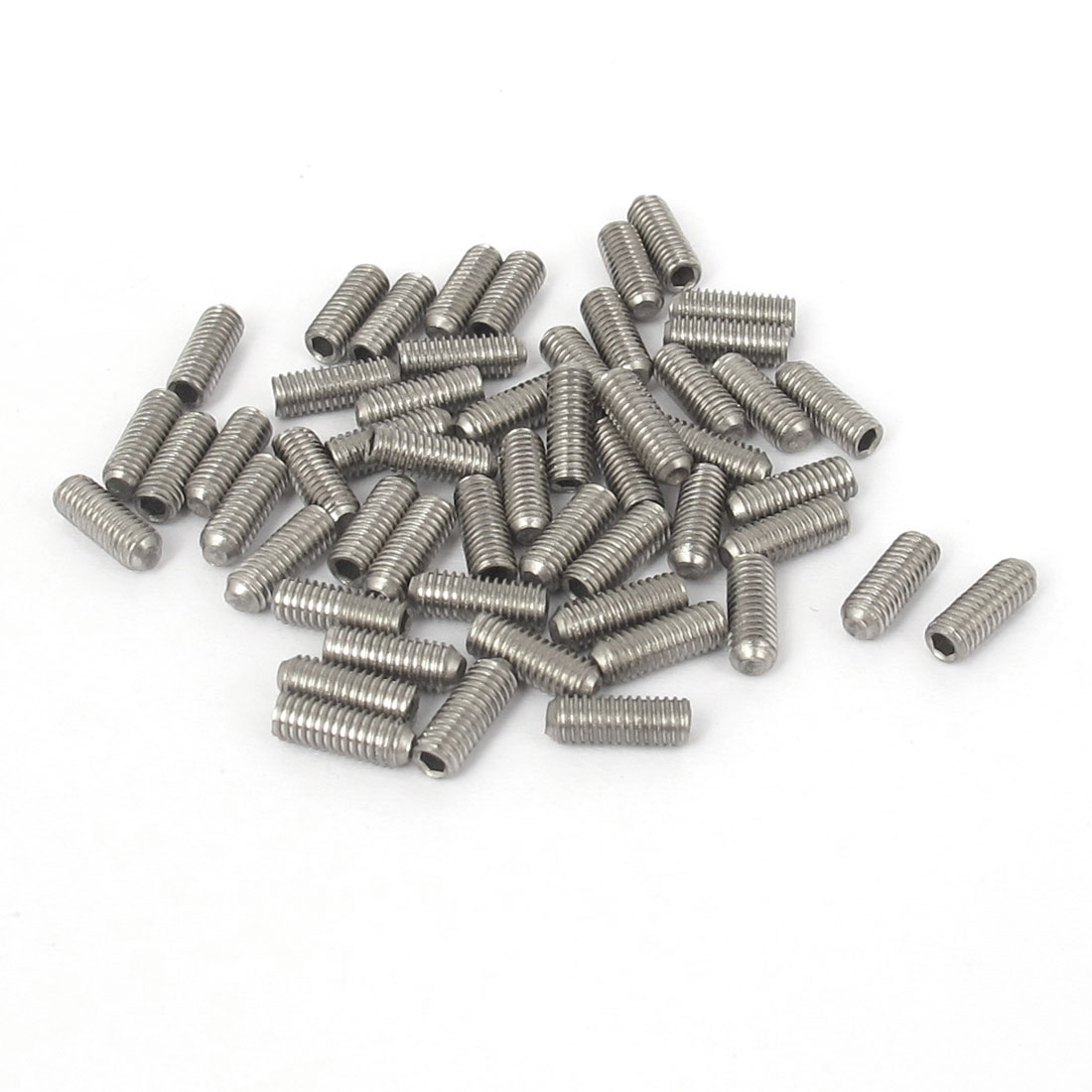 M3x8mm Stainless Steel Hex Socket Set Cap Point Grub Screws Silver Tone 50pcs