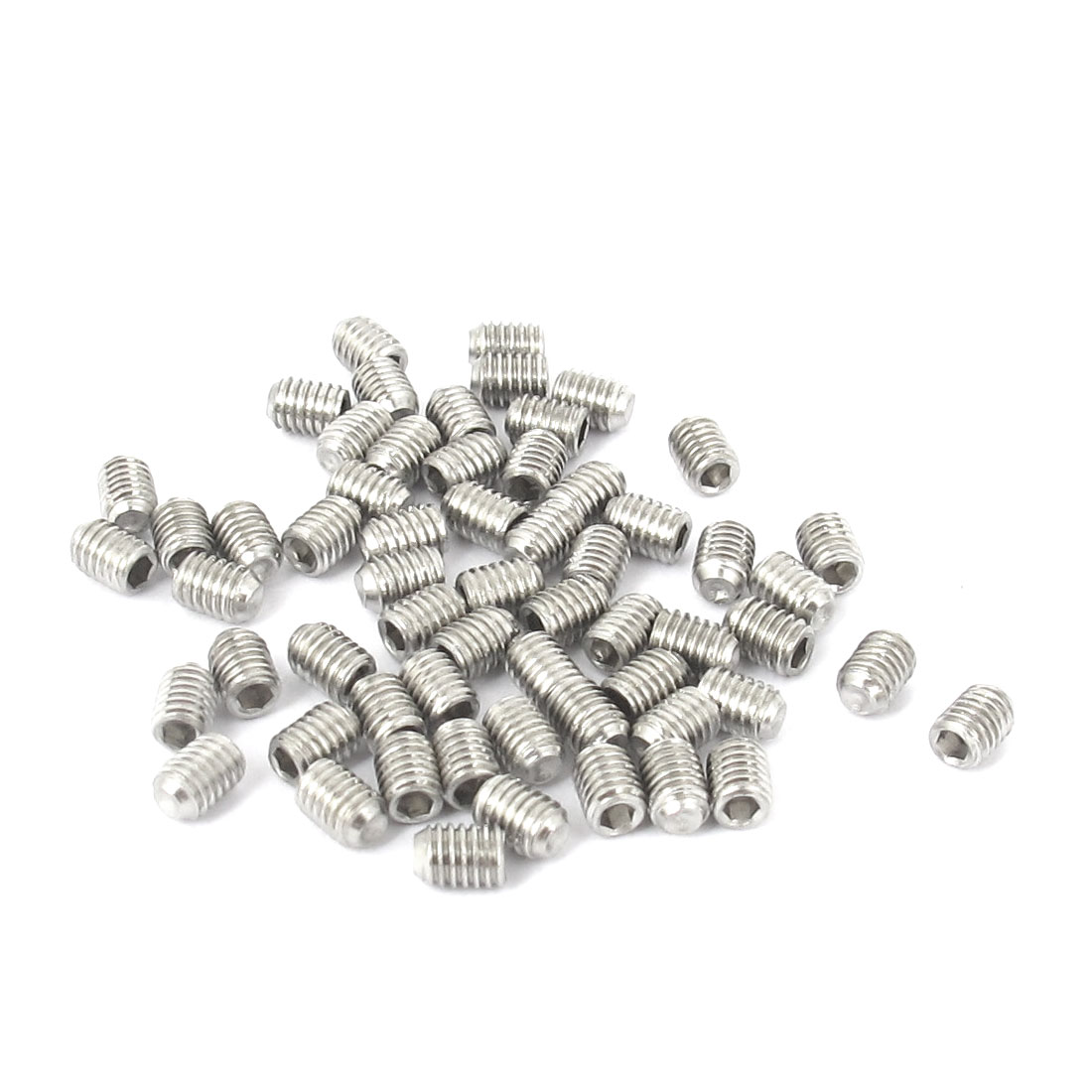 M3x4mm Stainless Steel Hex Socket Set Cap Point Grub Screws Silver Tone 50pcs