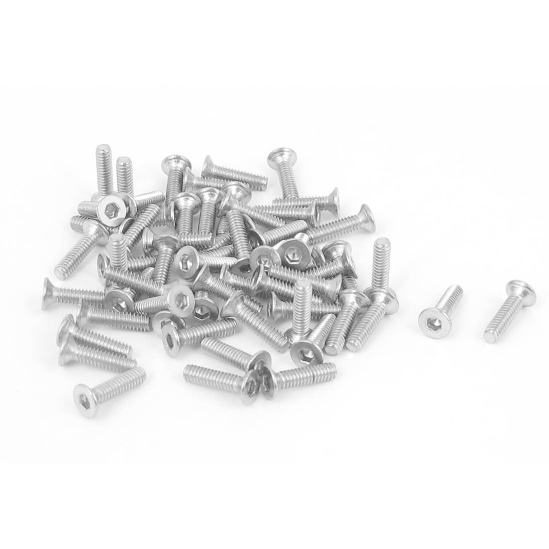 M2 x 8mm Metric 304 Stainless Steel Hex Socket Countersunk Flat Head Screw Bolts 50pcs