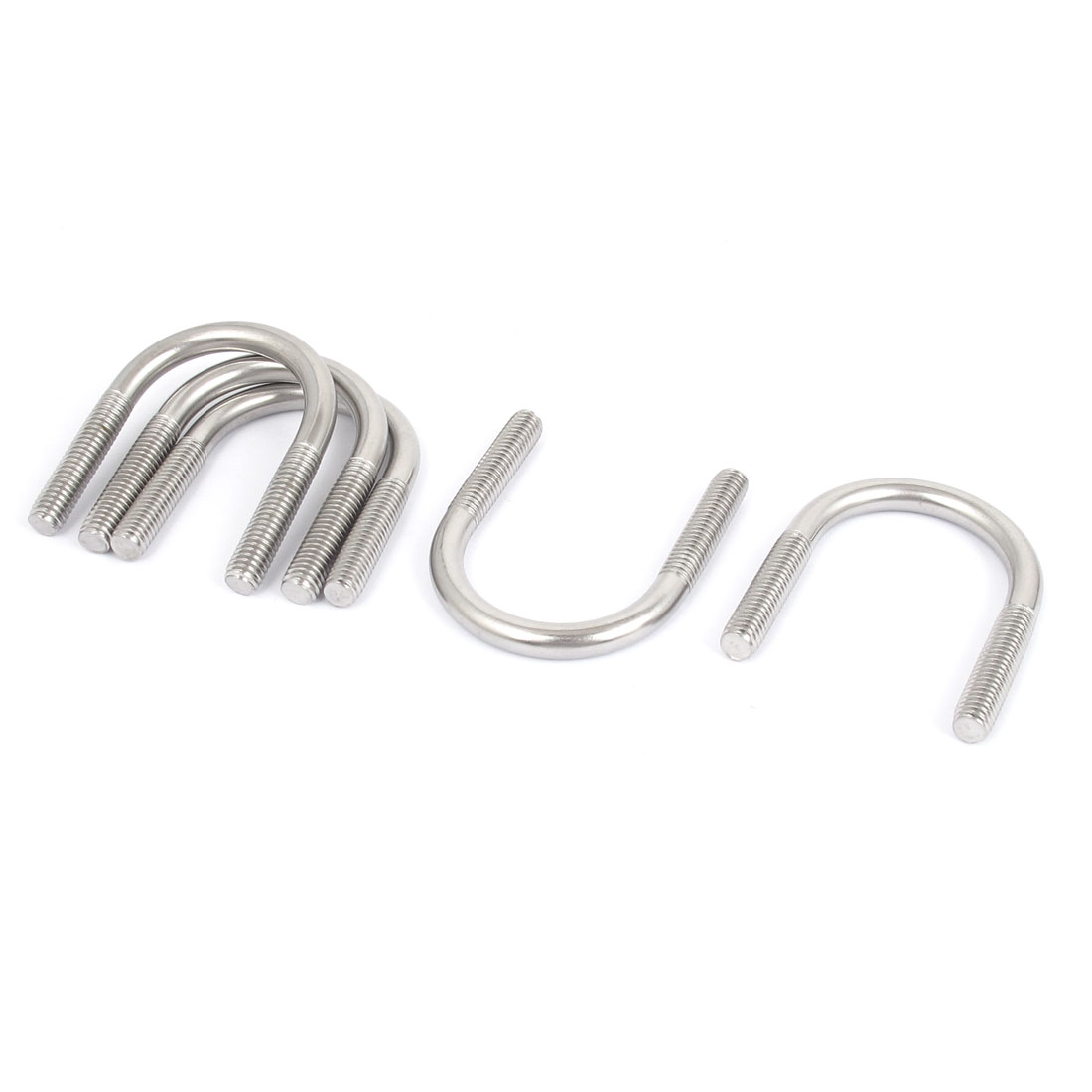 M6 304 Stainless Steel Round Bend U-Bolt Fastener 5pcs for 27mm Pipe Diameter
