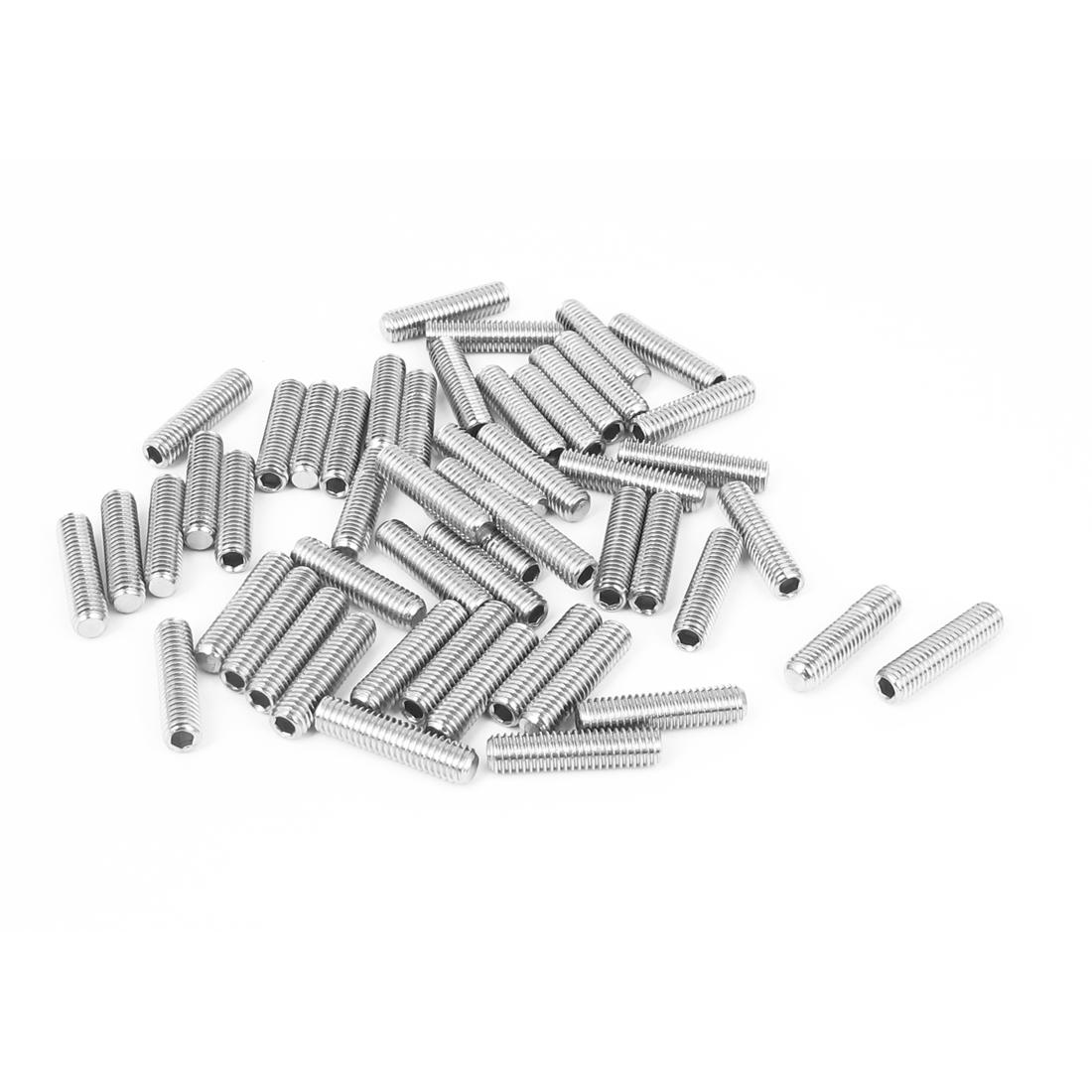 M5x20mm Stainless Steel Hex Socket Set Cap Point Grub Screws Silver Tone 50pcs