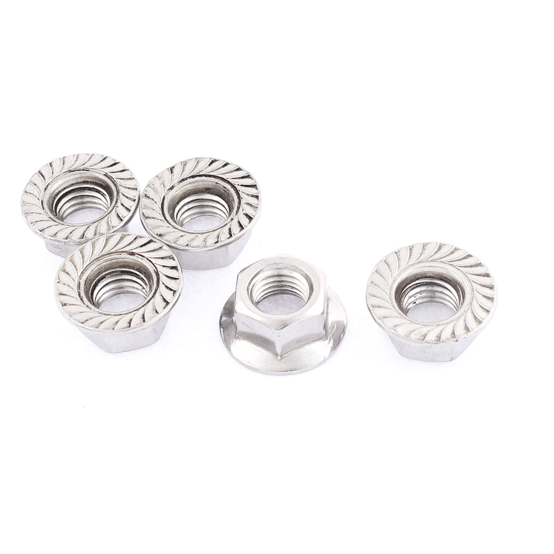 M12 Thread Dia Stainless Steel Hex Hexagon Flange Lock Nuts 5pcs