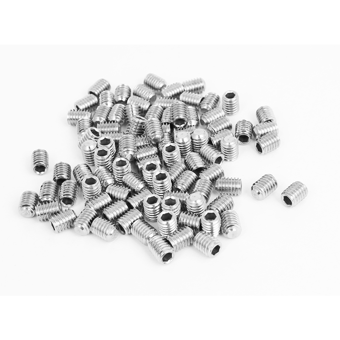 M6x8mm 304 Stainless Steel 1mm Pitch Hex Socket Set Cap Point Grub Screws 100pcs