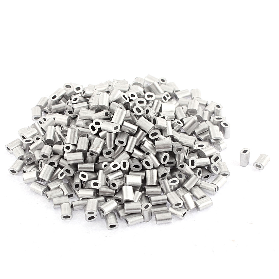 Oval Aluminum Sleeves Clamps Silver Tone 100pcs for 0.5mm Wire Rope Swage Clip