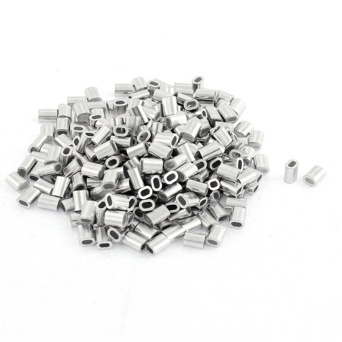 300pcs Oval Aluminum Sleeves Clamps for 1mm Wire Rope Swage Clip