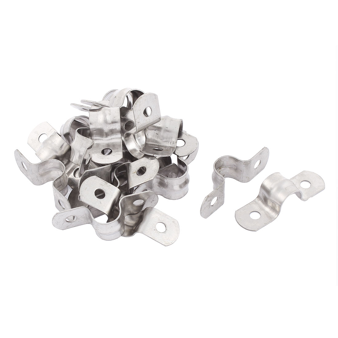 10mm Arch High Two Hole Stainless Steel Pipe Strap Clips Fastener Holder 20Pcs