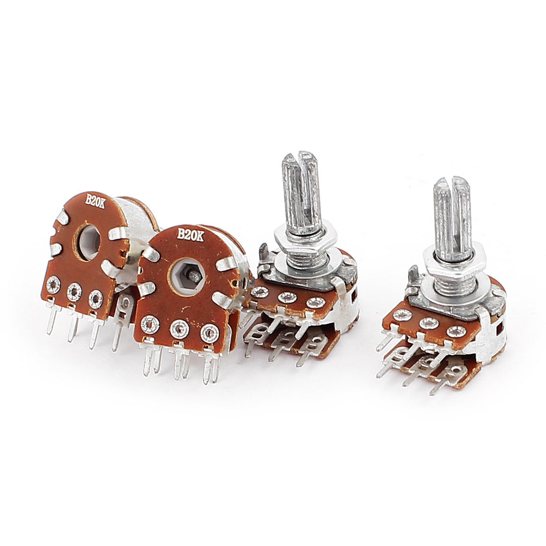 20K Ohm Type B Dual Linear Taper Rotary Potentiometer 4pcs