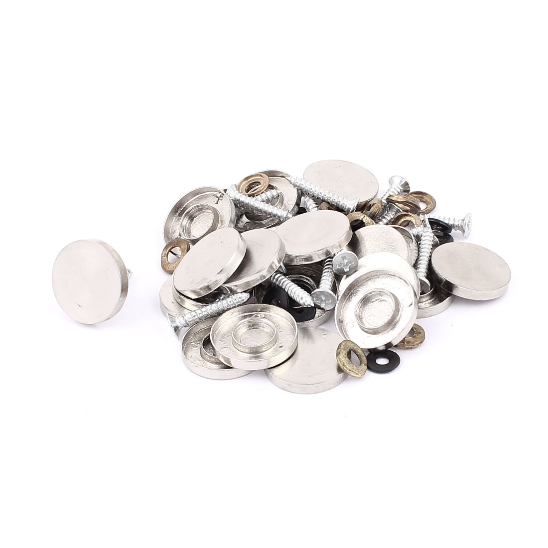 3.5mm Thread Round Flat Decor Mirror Cap Screw Nails Silver Tone 20 Pcs