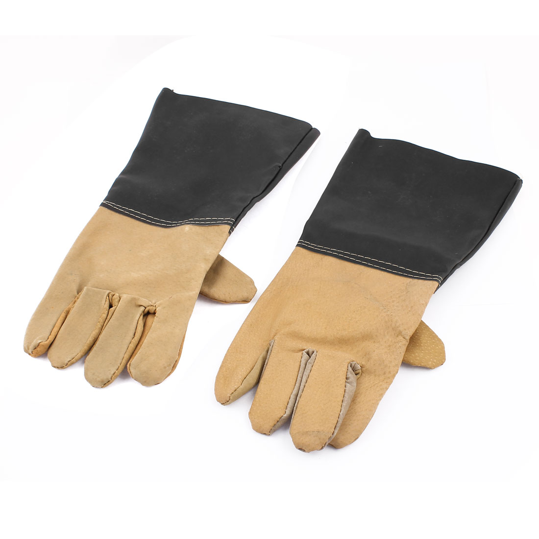 Protective Industry Anti Chemical Acid Alkali Rubber Work Gloves Black Pair